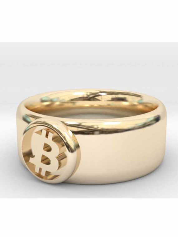 Bague-Bitcoin-Btc-Plaque-Or-14k